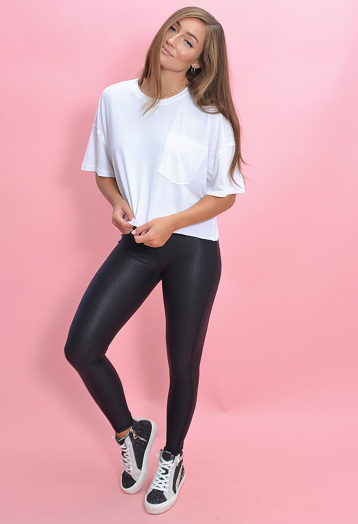KK Bloom Faux Leather Black Leggings-front