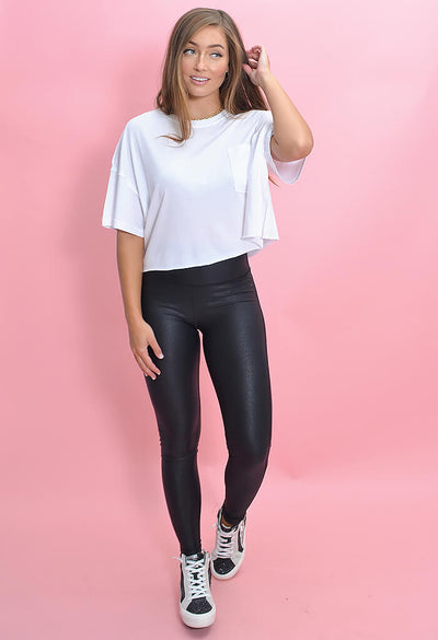 KK Bloom Faux Leather Black Leggings-full length
