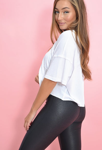 KK Bloom Faux Leather Black Leggings-front zoom
