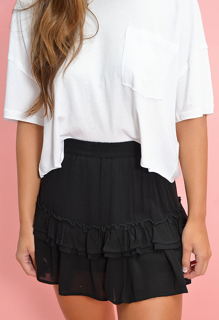 KK Bloom black ruffled Logan Skirt-front