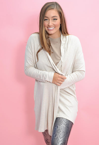 KK Bloom Boutique Plush Neutral Cardigan-front