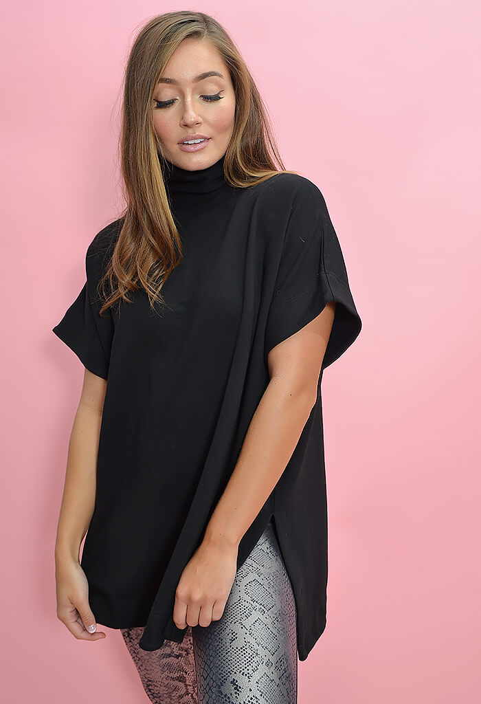 KK Bloom Boutique Oversized Black Turtleneck Poncho-side