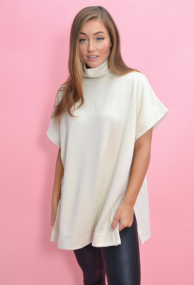 KK Bloom Boutique Oversized Cream Turtleneck Poncho-front