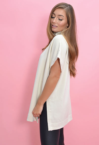 KK Bloom Boutique Oversized Cream Turtleneck Poncho-side