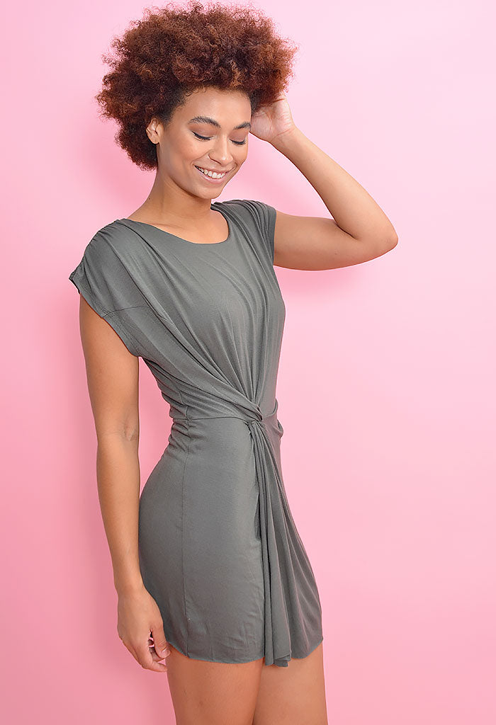 Knot so Basic Dress-Olive