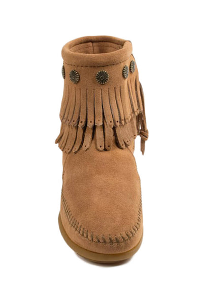 Double Fringe Side Zip Boot - Taupe