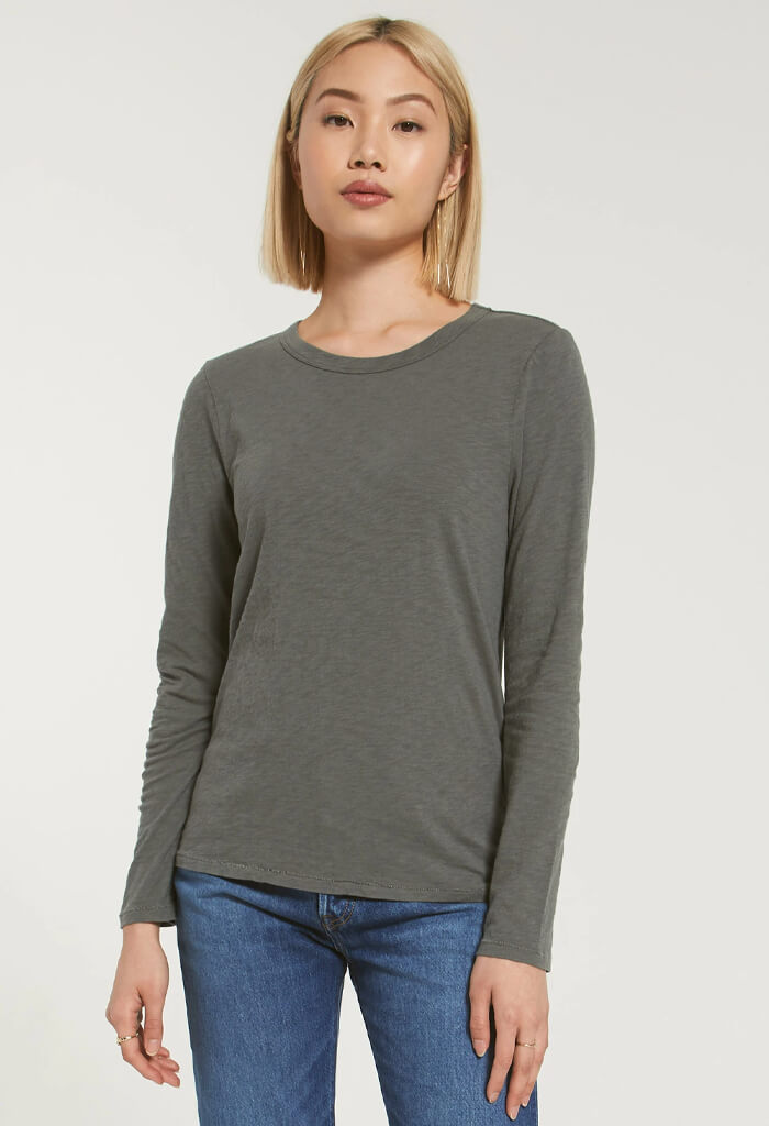 Everyday Slub Long Sleeve-Ash Green