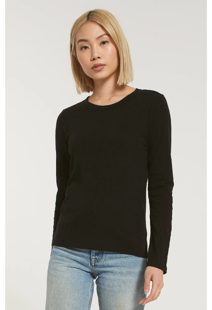 Z Supply Everyday Slub Longsleeve in Black-front