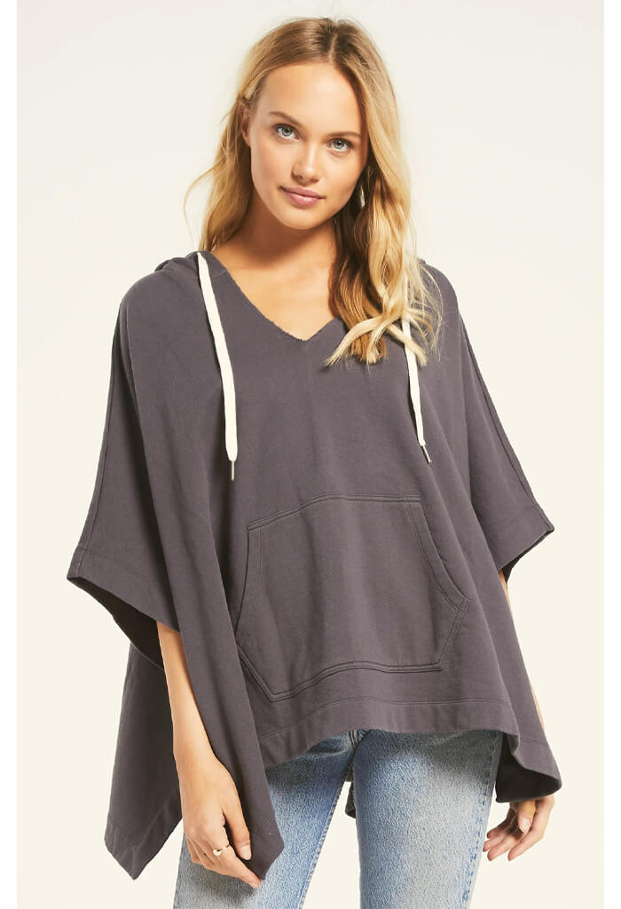 Z Supply Canyon Poncho in Charcoal-front