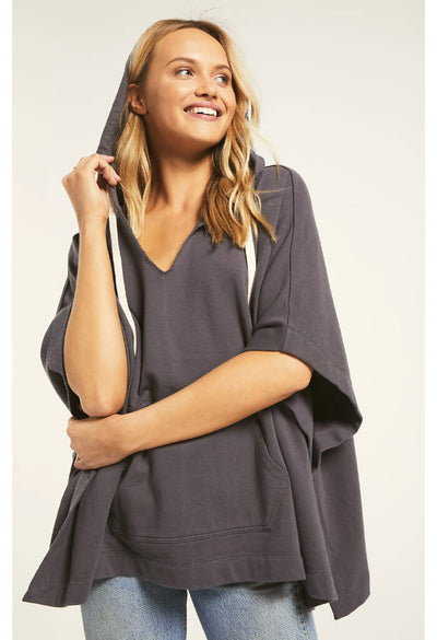 Z Supply Canyon Poncho in Charcoal-alternate