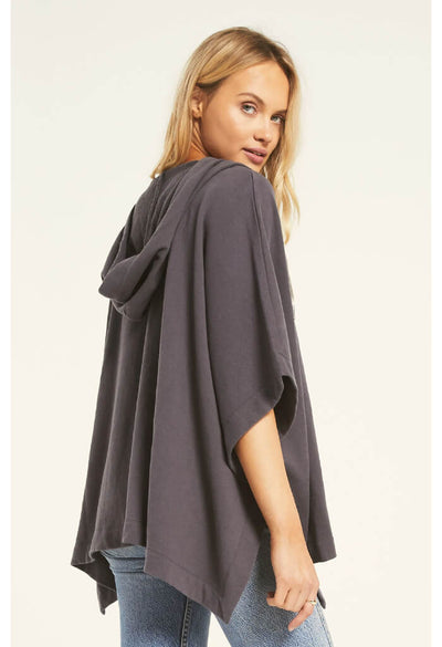 Z Supply Canyon Poncho in Charcoal-side