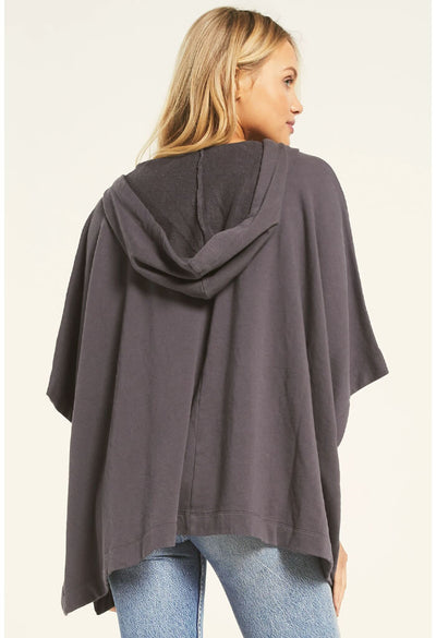 Z Supply Canyon Poncho in Charcoal-back
