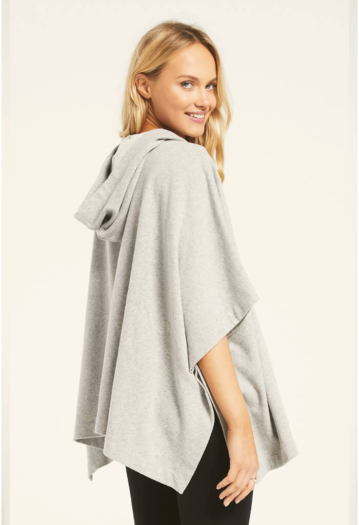 Z Supply Canyon Poncho in Heather Grey-front alt