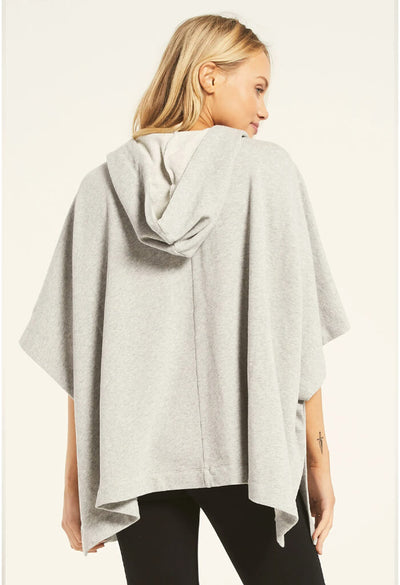 Z Supply Canyon Poncho in Heather Grey-back