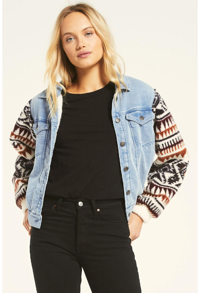 Z Supply Gia Knit Denim Jacket-front