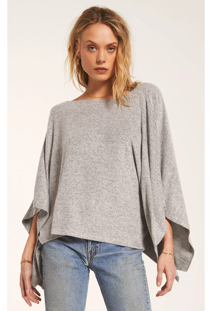 Z Supply Ruby Marled Poncho in Heather Grey-front