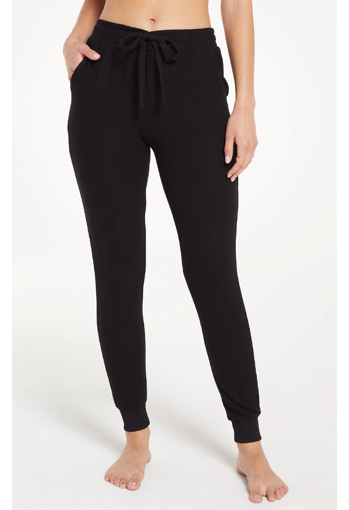Z Supply Marled Jogger Pant in Black-full length