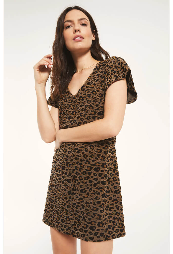 Z Supply Lina Leopard Jacquard Dress-full length