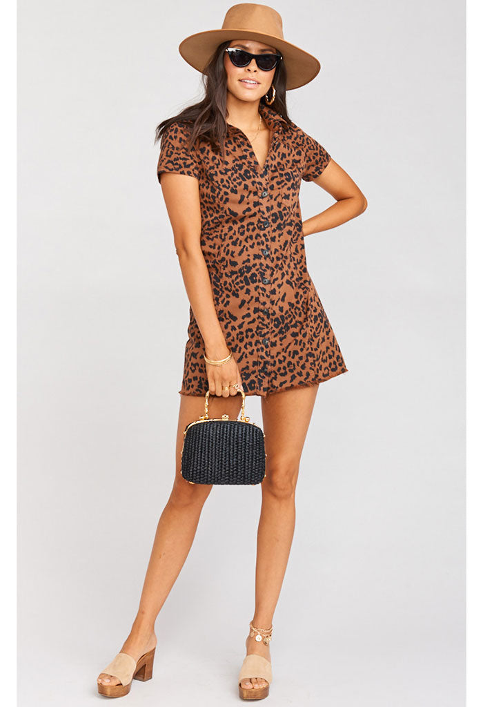 Cyrus Mini Dress ~ Bronze Leopard