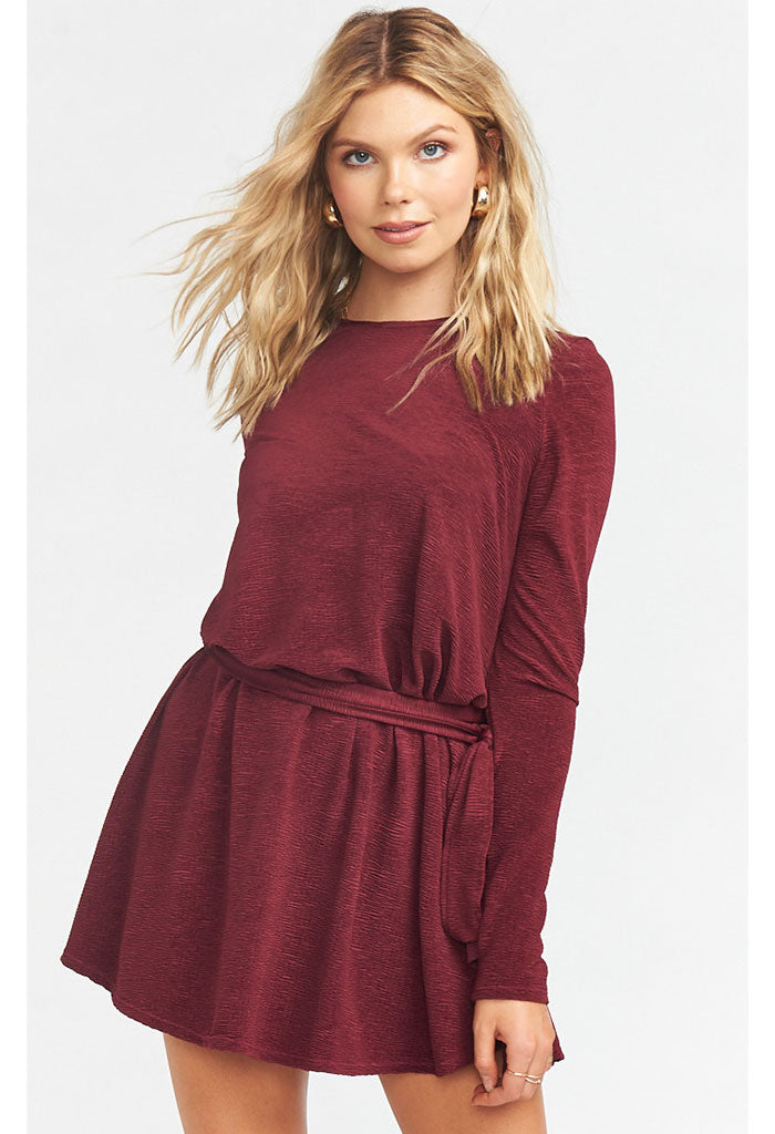 Toby Tie Dress ~ Ripple Scrunch Burgundy