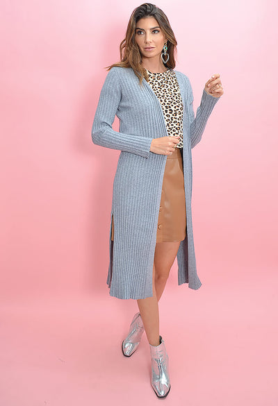Cupcakes and Cashmere Paloma Duster in Heather Grey-full length side