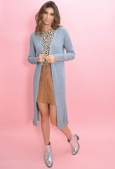 Cupcakes and Cashmere Paloma Duster in Heather Grey-full length