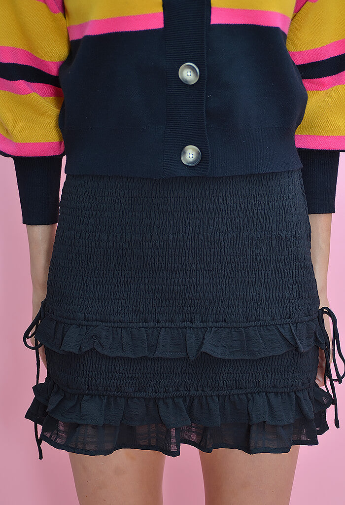 KK Bloom Boutique Karina Smocked Black Skirt-front