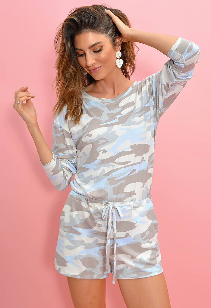 KK Bloom Boutique Pastel Camo Lounge Romper-front