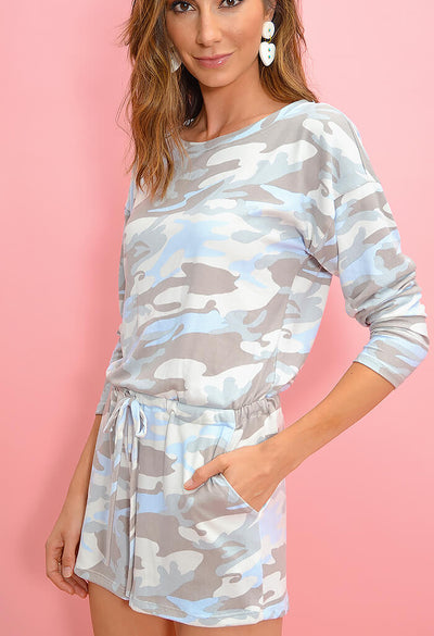 KK Bloom Boutique Pastel Camo Lounge Romper-side