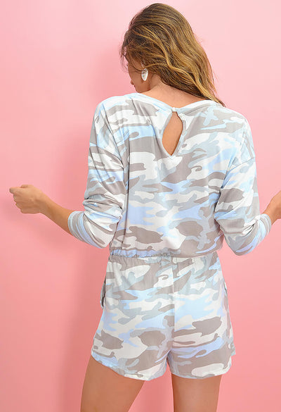 KK Bloom Boutique Pastel Camo Lounge Romper-back