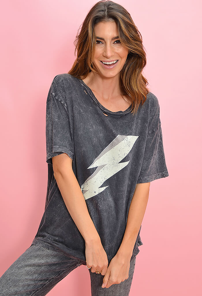 KK Bloom Boutique Distressed Charcoal Lightning Bolt Graphic Tee-front