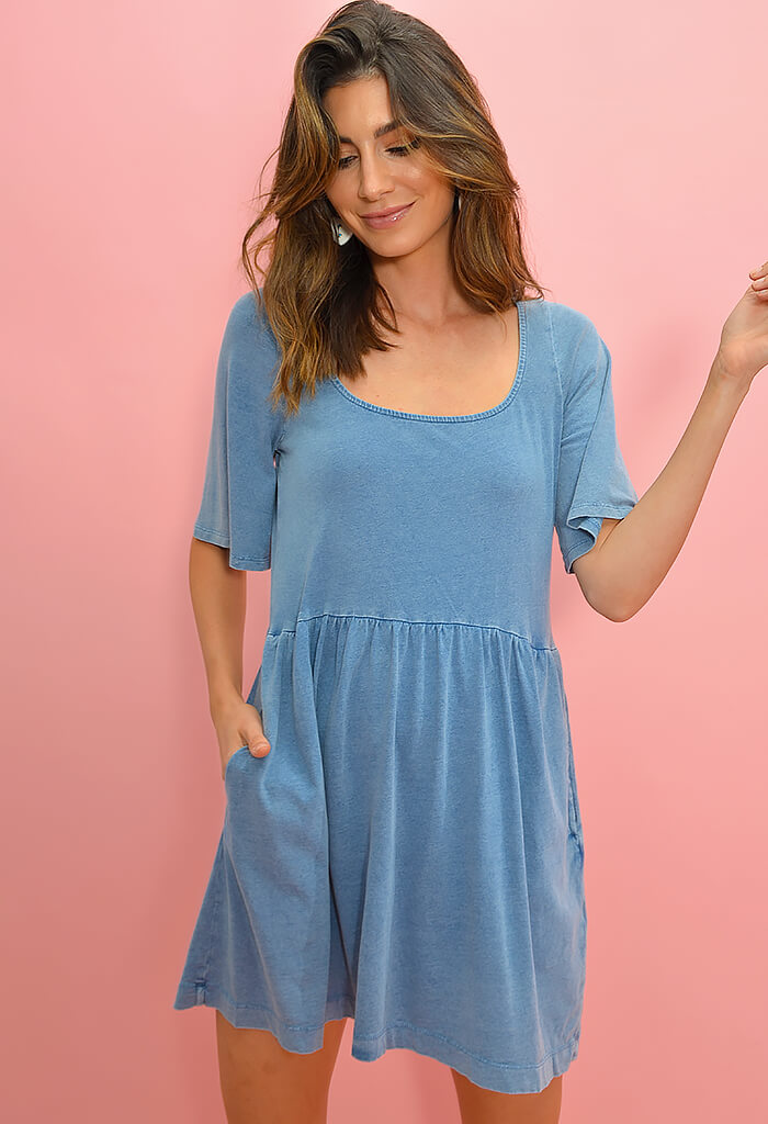 Z Supply Prairie Jersey Dress in Blue-front