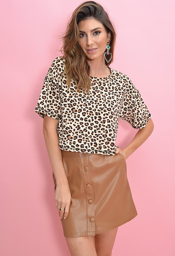 KK Bloom Leopard Print Tee-with coffee