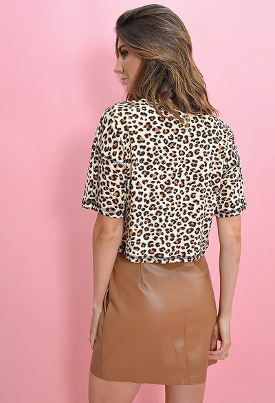 KK Bloom Leopard Print Tee-back