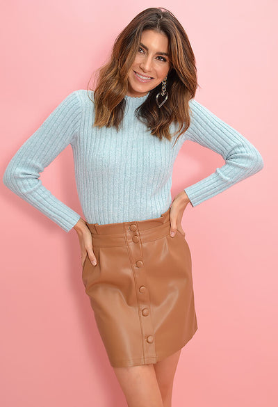 Cupcakes and Cashmere Joanie Skirt in Dark Camel-front