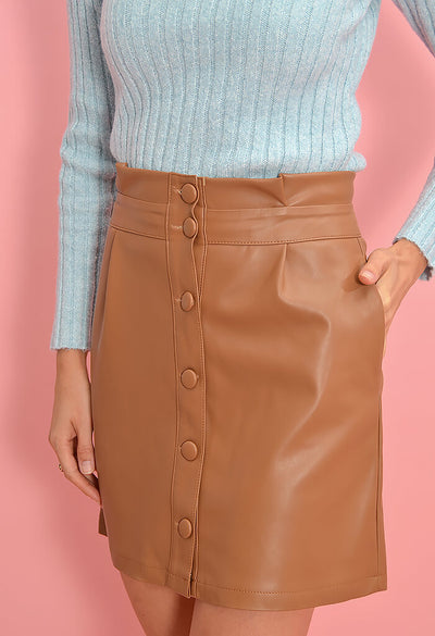 Cupcakes and Cashmere Joanie Skirt in Dark Camel-zoom