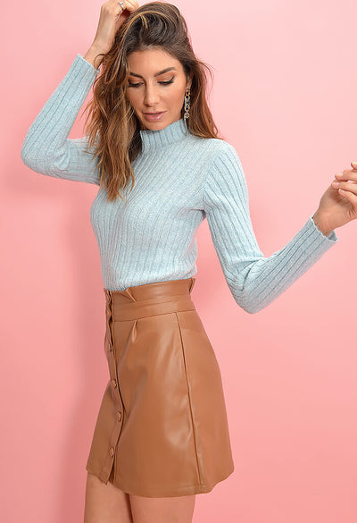 Cupcakes and Cashmere Joanie Skirt in Dark Camel-side