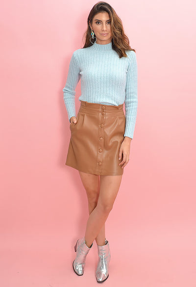 Cupcakes and Cashmere Joanie Skirt in Dark Camel-full length
