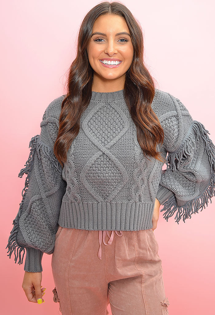 Mila Fringe Sweater - Heather Grey