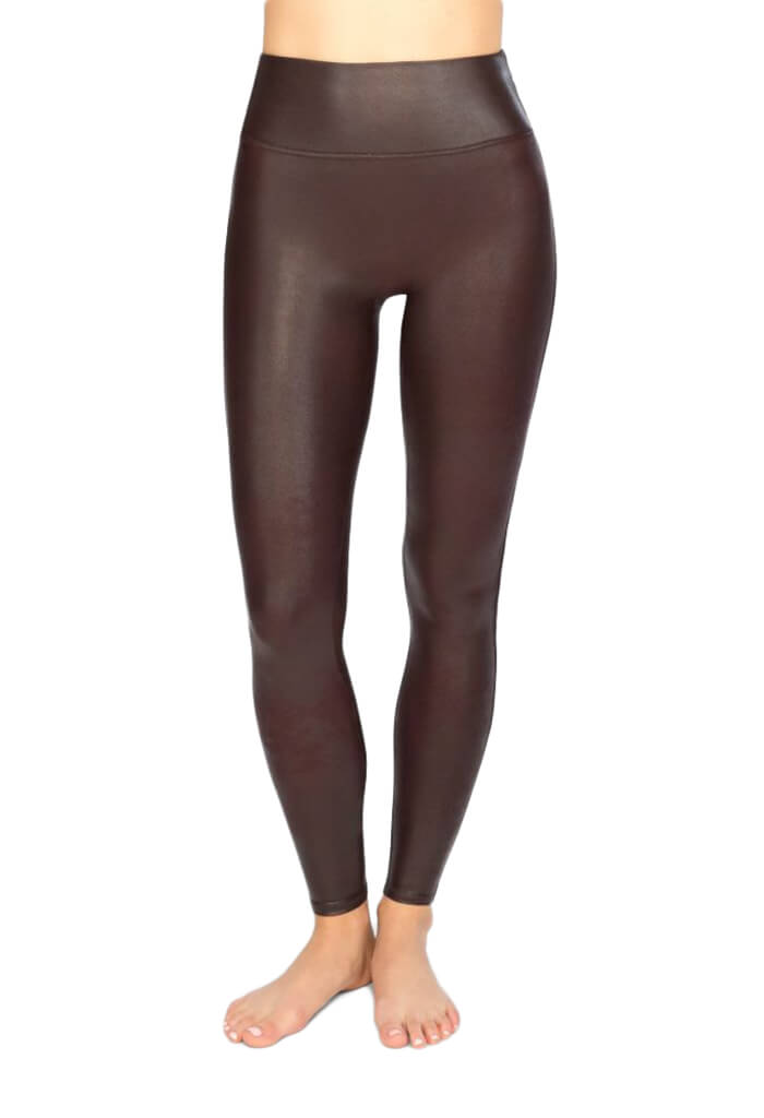 Faux Leather Leggings - Wine
