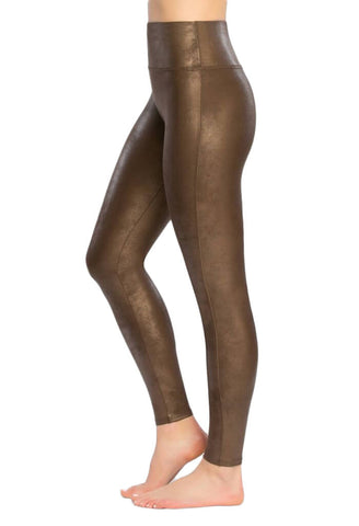Faux Leather Leggings - Bronze Metal