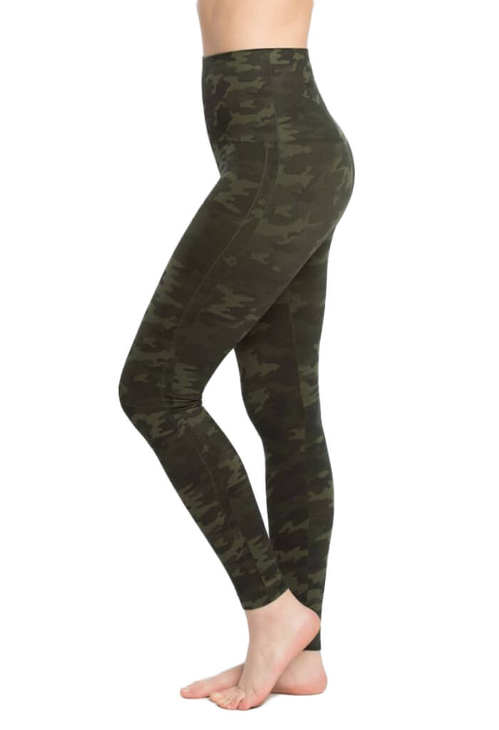Spanx Look At Me Now Seamless Leggings - Green Camo-front