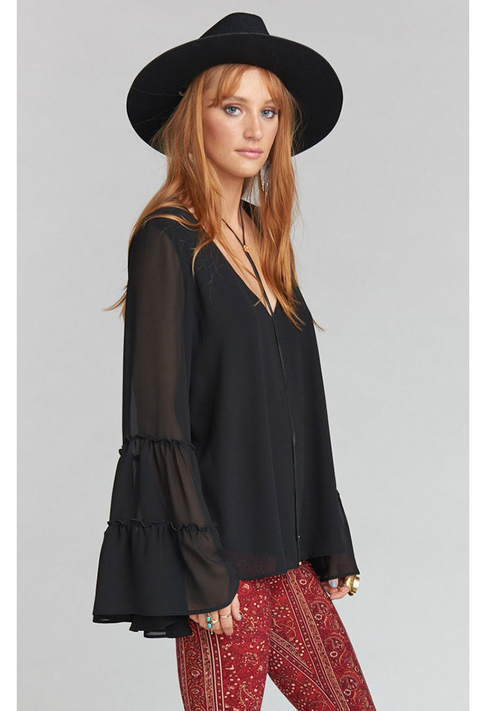 Nicolette Top ~ Black Chiffon