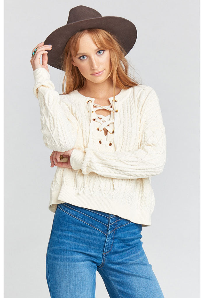 Joey Lace Up Sweater ~ Snowflake Cable Knit