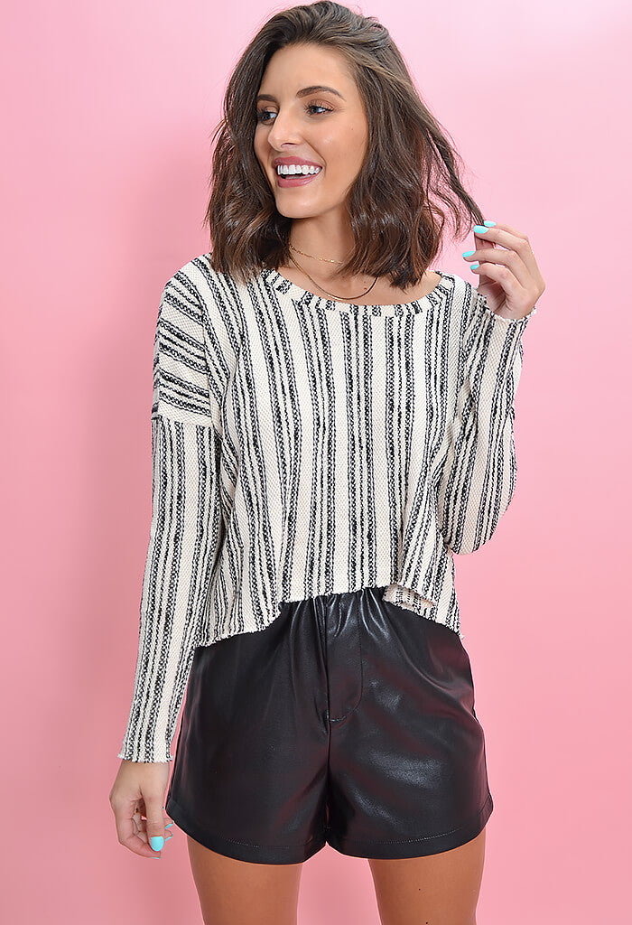 KK Bloom Boutique Asheville Striped Crop Top-front