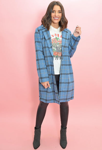 Cupcakes and Cashmere Robyn Coat in Blue Plaid-full length