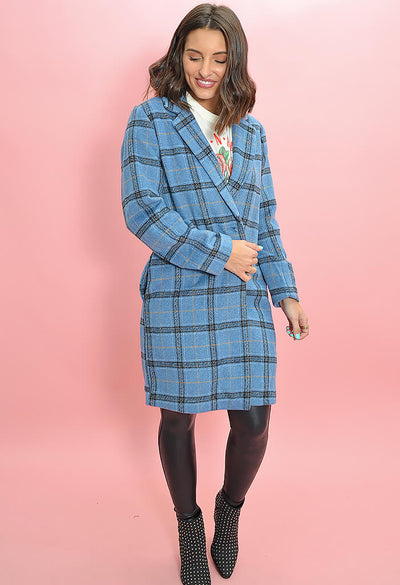 Cupcakes and Cashmere Robyn Coat in Blue Plaid-full length alternate