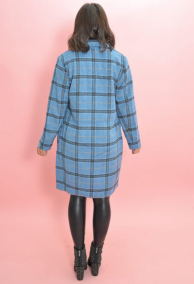 Cupcakes and Cashmere Robyn Coat in Blue Plaid-back