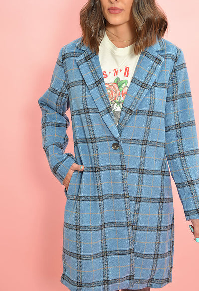 Cupcakes and Cashmere Robyn Coat in Blue Plaid-zoom