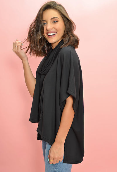 BB Dakota Mission to Chill Pullover Top in Black-side